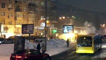 Big fight in Kiev, Dynamo hooligans against besiktas ultras and riot police 06.12.2016