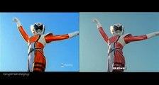 Power Rangers SPD Kat Ranger First Appearance Split Screen (PR and Sentai version)