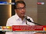 BT: Sec. Roxas, nagsasagawa ng presscon tungkol sa detention ni Janet Napoles sa Fort Sto. Domingo