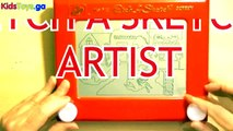 FUN WITH ETCH A SKETCH Doodle Sketch ANIMATION and IMAGINATION - learn numbers kids toys