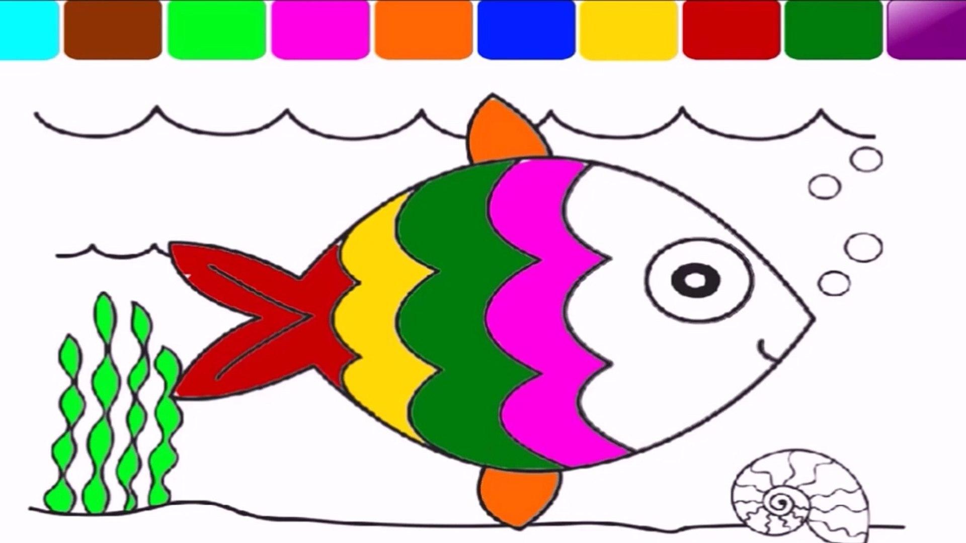 Cocuklar Icin Renkler Ogrenin Ve Renkli Balik Boyama Sayfasi