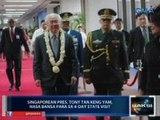 Saksi: Singapore Pres. Tony Tan Keng Yam, nasa bansa para sa 4-day state visit