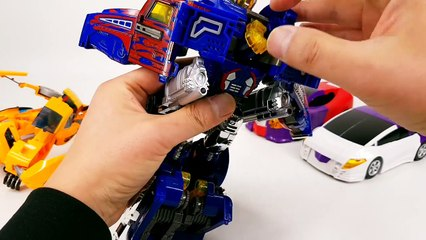 Transformers Bumblebee   Optimus Prime Combine VS Turning Mecard W HD Gryphinx Vehicle Robot Car Toy