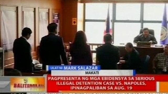 Pagpresenta ng mga ebidensya sa serious illegal detention case vs Napoles, ipinagpaliban sa Aug. 19