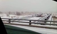 Extreme high speed multiple car crash in Colorado snow storm
