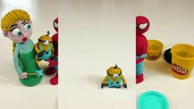 Minion Baby Care Elsa Frozen Stop Motion PlAy DOh Animation Fun Spiderman Movie Clips