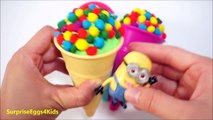 Play Doh Rainbow Ice Cream Surprise Egg Popsicles opening by Minions, MLP Prince