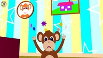 FIVE LITTLE MONKEYS - Jumping On The Bed - Nursery Rhymes, Crazy Monkeys, Song For Kids&Toddlers