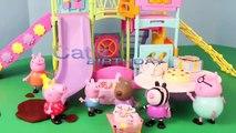 Peppa Pig Park Playground Candy Cat Birthday Party Play Doh Muddy Puddles DisneyCarToys