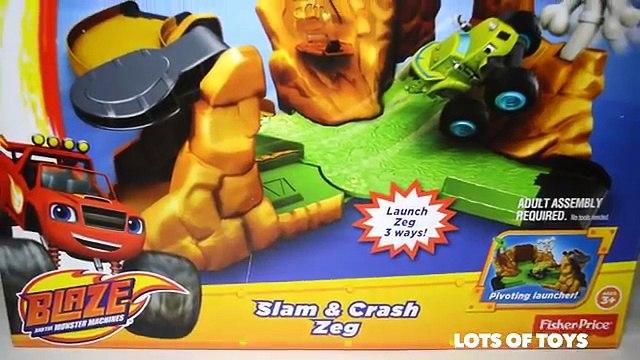 Blaze and the Monster Machines Slam & Crash Zeg!! Blaze, Starla, Big Horn, Crusher Lots of Toys