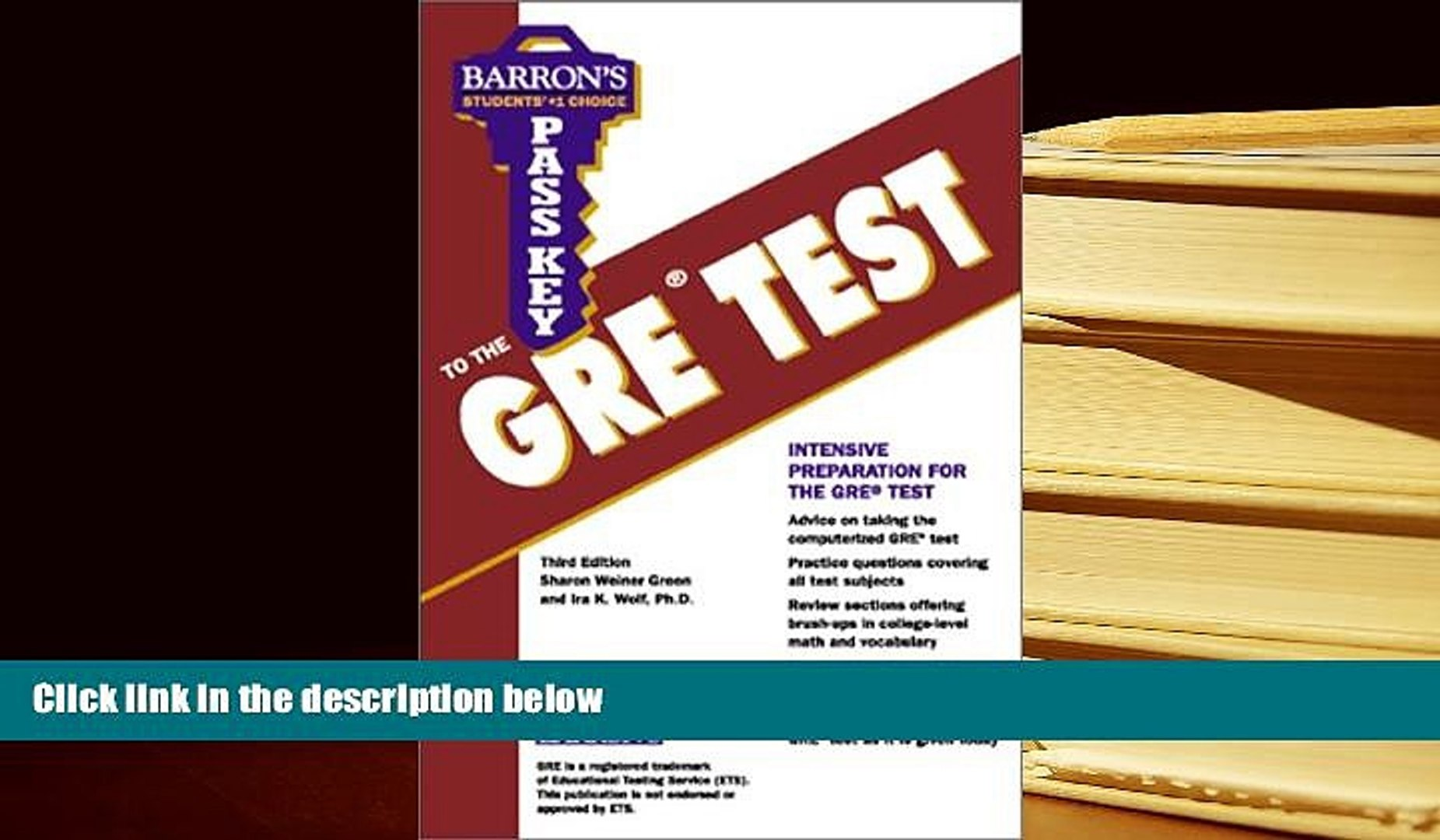 Read Book Pass Key to the Gre Test: Graduate Record Examination (Barron s  Pass Key to the Gre, 3rd