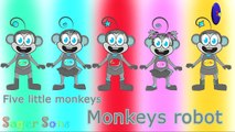 Five little monkeys ( Robot monkeys ) 3D Animation English Nursery rhyme for children