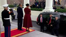 The Obamas greet the Trumps at the White House
