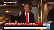 Investiture de Trump : Arrivée à la tribune du 45ème président des États-Unis, Donald Trump