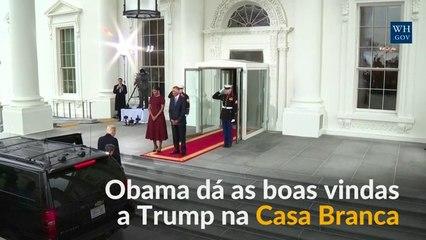 Trump é recebido na Casa Branca por Michelle e Barack Obama