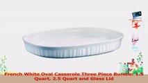 French White Oval Casserole Three Piece Bundle 15 Quart 25 Quart and Glass Lid eb316983