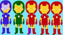 IRONMAN COLORS! Yellow, Green, Blue & Black Spiderman Disney Pixar Cars Nursery Rhymes Songs