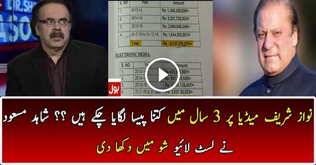 How Much Money Nawaz Sharif Had Given To Media In 3 Years