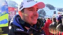 Réaction de Valentin Giraud moine après sa deuxieme place lors de la descente de Kitzbuhel