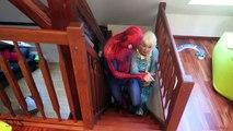 FIRE BREATHING FROZEN ELSA vs SPIDERMAN FIREMAN w/ Spidergirl vs Joker & Maleficent - Superhero Fun