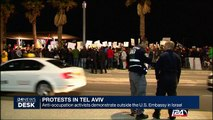 Protests in Tel Aviv : anti-occupation activists demonstrate outside the U.S. Embassy in Israel