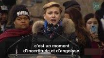 """Le discours très applaudi de Scarlett Johansson contre """"les conséquences dévastatrices"""" de la politique de Trump"""