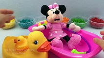 Fun Learning Colours with Minnie Mouse Bath In Jelly Beans Pretend Play for Children