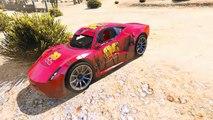 Disney Cars McQueen Speed Crash Test - Captain Spiderman vs Train Nursery Rhymes