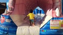GIANT INFLATABLE SHARK WATER SLIDE FOR KIDS Toys Family Fun Giant Slip N Slide Party Ryan ToysReview