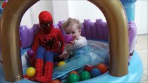 Spiderman with Frozen VS Joker Spiderman gets Funny Dog nose Super Heroes Fun Real Life