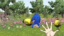 Fat spiderman vs Hulk finger family 3d animation - Colors dinosaur finger family nursery rhymes