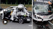 Child killed in four-vehicle collision involving a bus