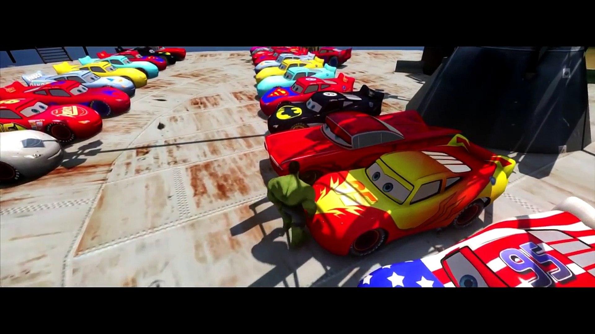Nursery Rhymes 25 Multi Colors Mcqueen Cars SMASHED BY HULK! Dinoco Ramone Disney Pixar Cars HD