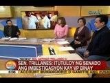 UB: Panayam kay Sen. Trillanes kaugnay sa pag-atras ni VP Binay sa debate