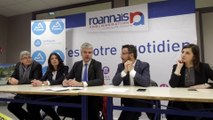 Conférence de presse de Laurent Wauquiez, président de la Région Auvergne Rhône-Alpes en déplacement à Saint Germain Lespinasse