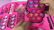 Hello Kitty Makeup Vanity Case! Light-Up Mirror! Brushes Nails Lip Gloss Body Glitter! Beauty Review