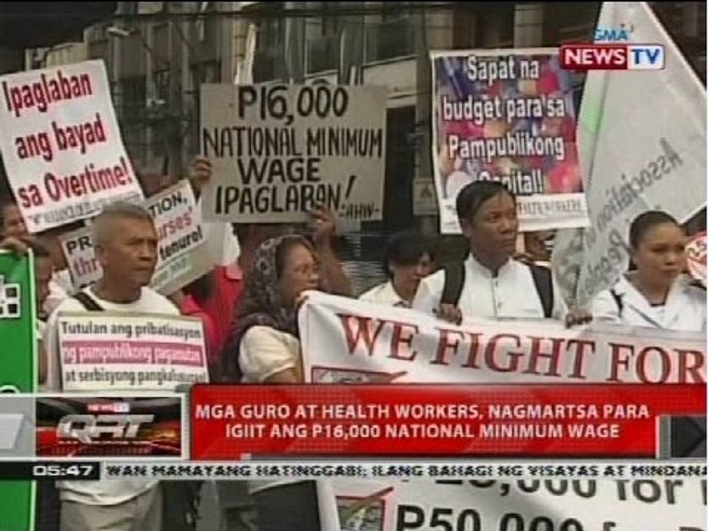 Mga guro at health workers, nagmartsa para igiit ang P16,000 national minimum wage