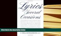 Epub  Lyrics on Several Occasions (Limelight) For Kindle