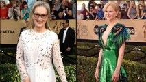 Meryl Streep Thandie Newton and Nicole Kidman Prove Bird's the Word at the 2017 SAG Awards - See Their Gowns!