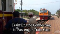 Train Engine Connecting to Passenger Train Cars in Hua Hin Railway Station