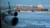 Boeing 747 400 - Takeoff After Snow Storm from Amsterdam
