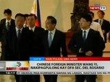 Chinese Foreign Minister Wang Yi, nakipagpulong kay DFA Sec. del Rosario