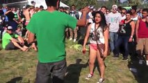 Big Drunk Girl Fights Crowd And Gets Knocked Outt