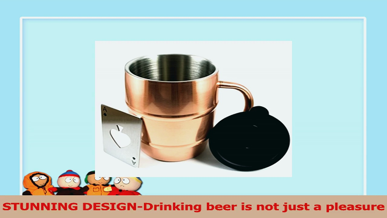 Polar Mugs Double Wall Air Insulated Stainless Steel Mug with Lid and Bottle Opener 7d79cd27