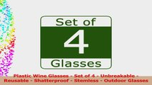 Plastic Wine Glasses  Set of 4 Red White Wine Stemless Glass  Unbreakable  Reusable  0512a0be