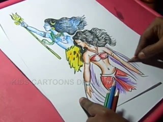 How To Draw Lord Shiva And Parvati Color Drawing Video Dailymotion