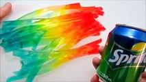 Como hacer tiras arcoiris de gominola con Sprite - Gelatina Arcoiris