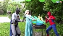 Frozen Elsa  u0026 Spiderman EATS ELSA w   Princess Anna Joker Maleficent Hulk Spidergirl Superheroes IRL