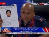 Press conference ng PNP kaugnay ng natagpuang IED malapit sa U.S. Embassy