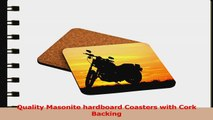Rikki Knight Motorcycle at Sunset Design Square Beer Coasters 934ffe72